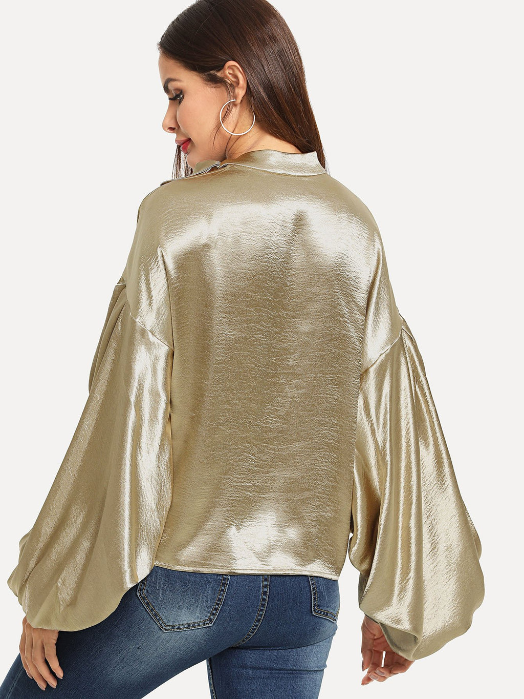 Tie Neck Exaggerate Bishop Sleeve Satin Top