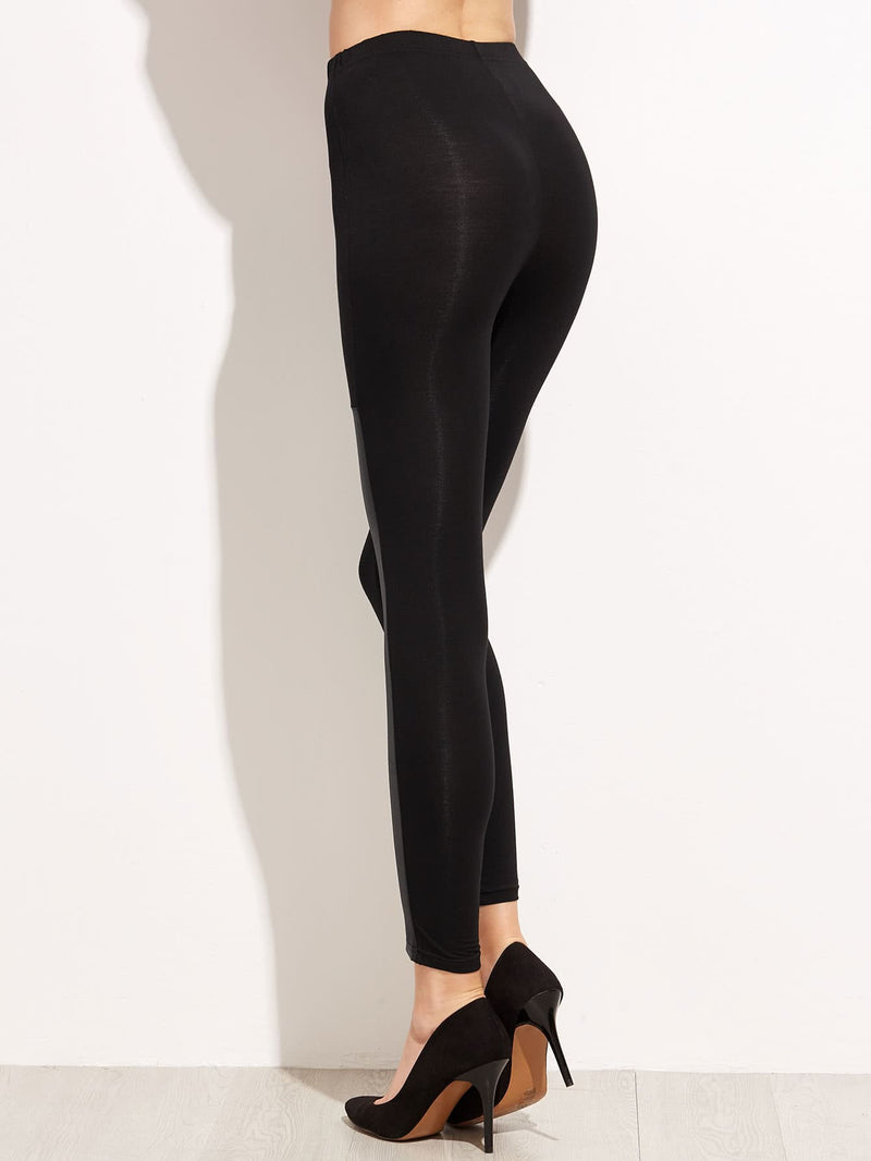 Contrast Faux Leather Elastic Waist Leggings
