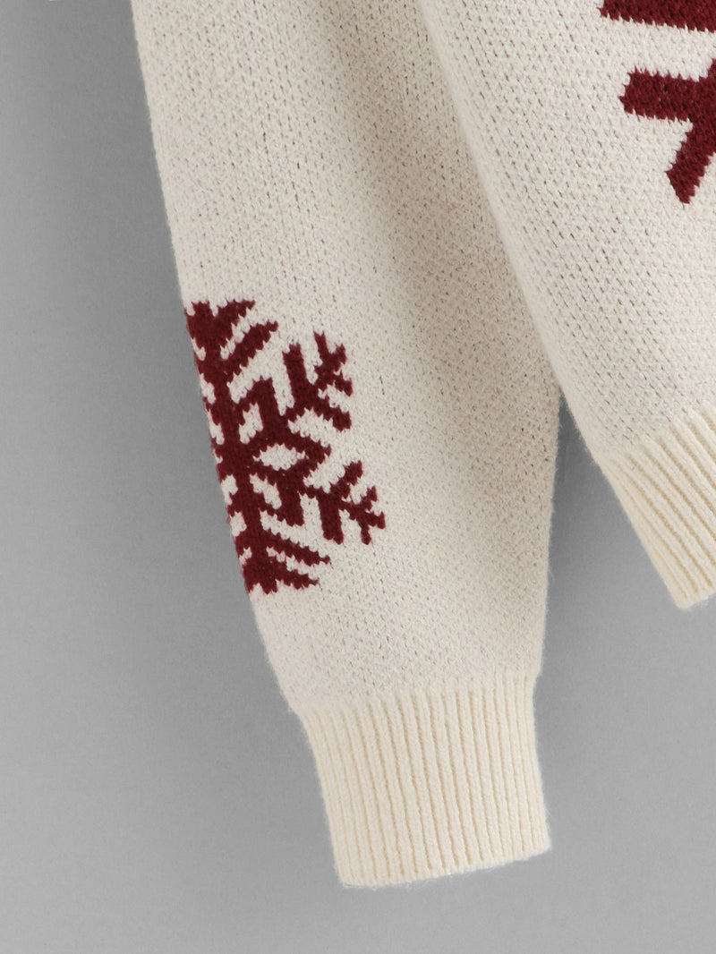 Snowflake Print High Neck Sweater