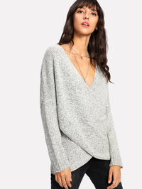 Drop Shoulder Crossover Space Dye Sweater