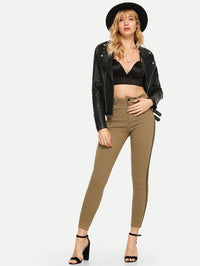 Solid Contrast Trim Ankle Jeans