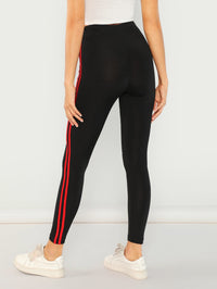 Striped Side Zipper Up Leggings