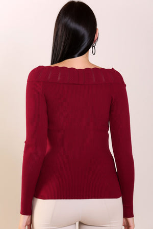 Claret Red Ribbed Shoulder Detail Tricot Sweater
