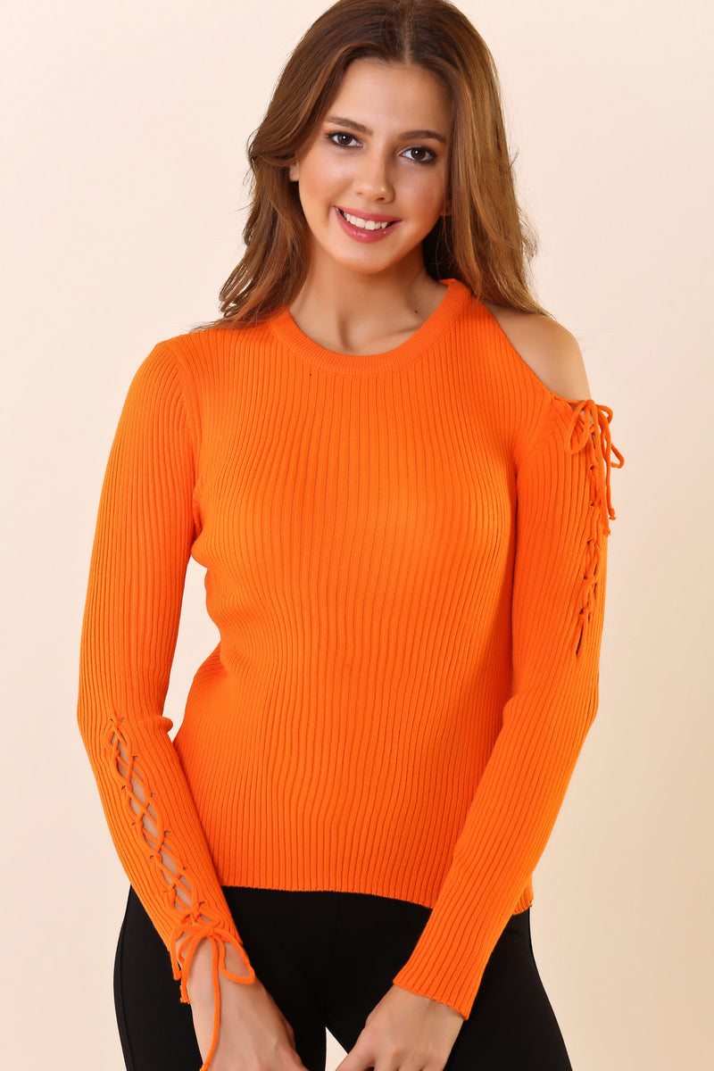 Crew Neck Lace-up Orange Tricot Sweater