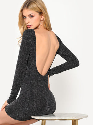 Low Back Ribbed Glitter Dress
