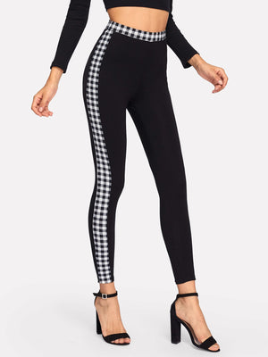 Gingham Waistband & Side Seam Leggings
