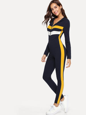 Cut and Sew Zip Front Form Fitting Jumpsuit