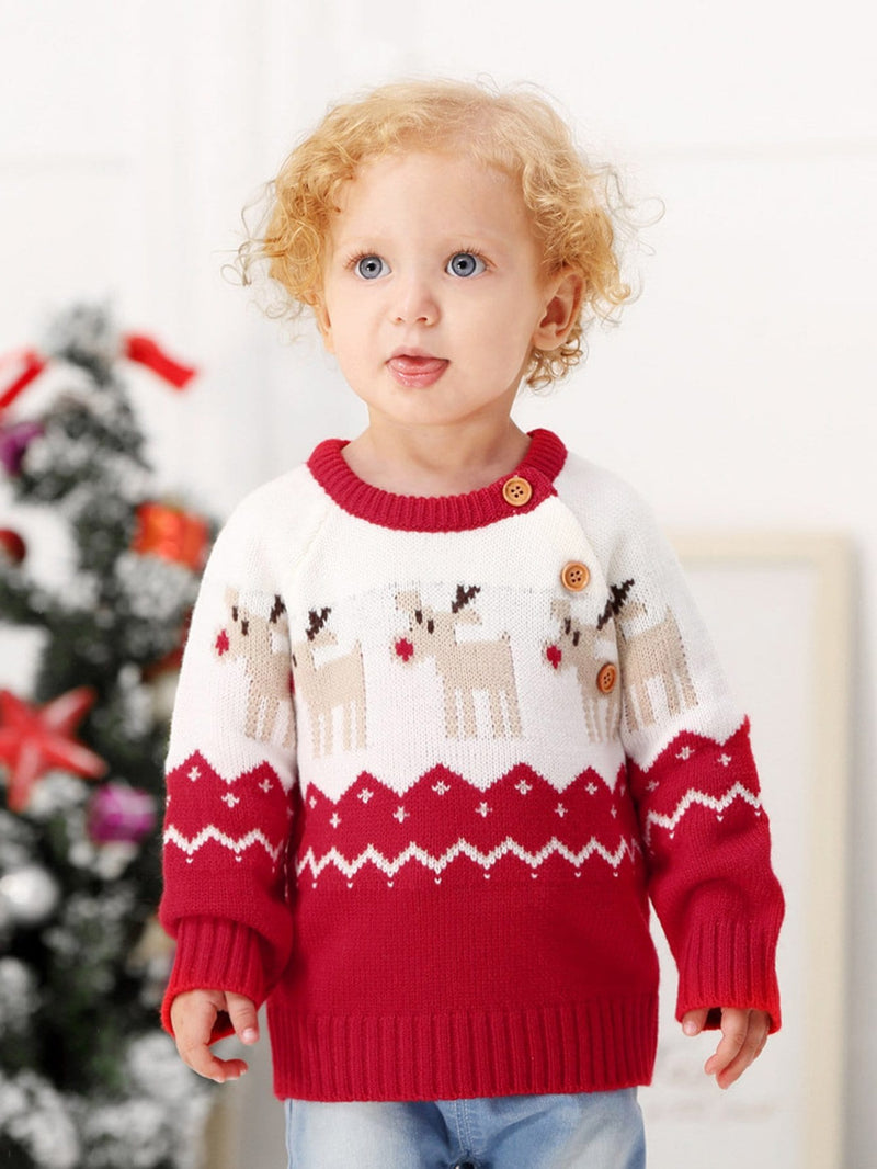 Toddler Boys Christmas Elk Print Knitwear