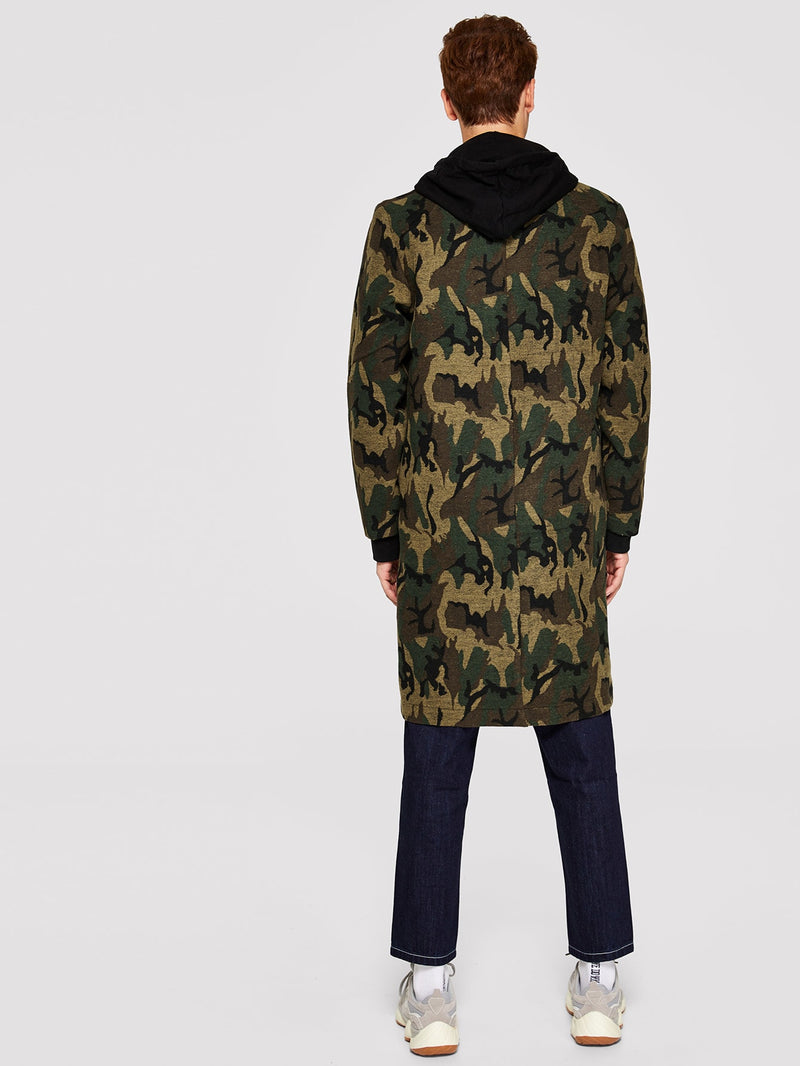 Men Single Breasted Camo Print Notch Neck Coat