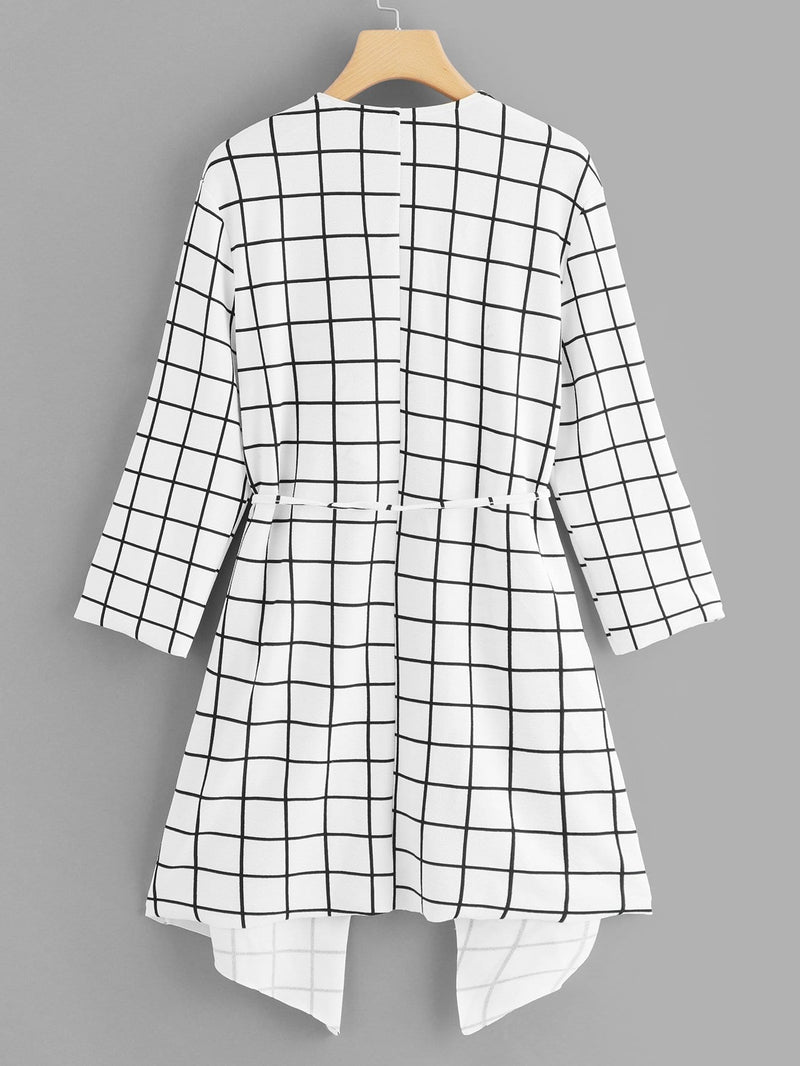 Waterfall Collar Grid Print Coat
