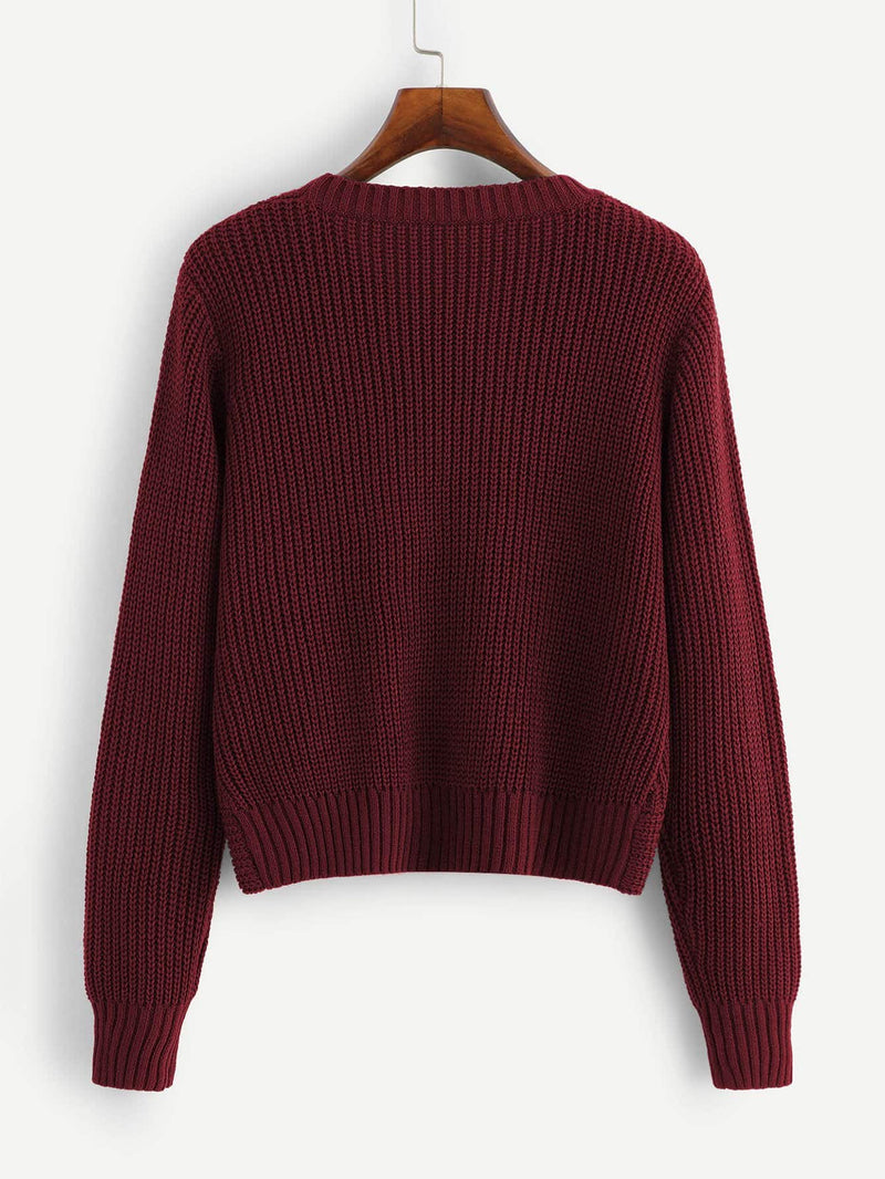 Twist Hem Solid Sweater