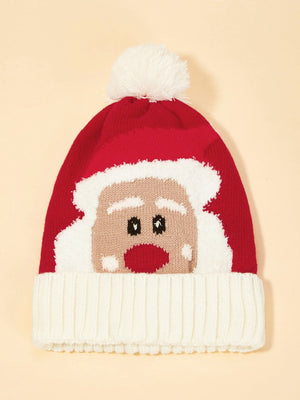 Christmas Kids Santa Claus Pattern Cuffed Beanie Hat