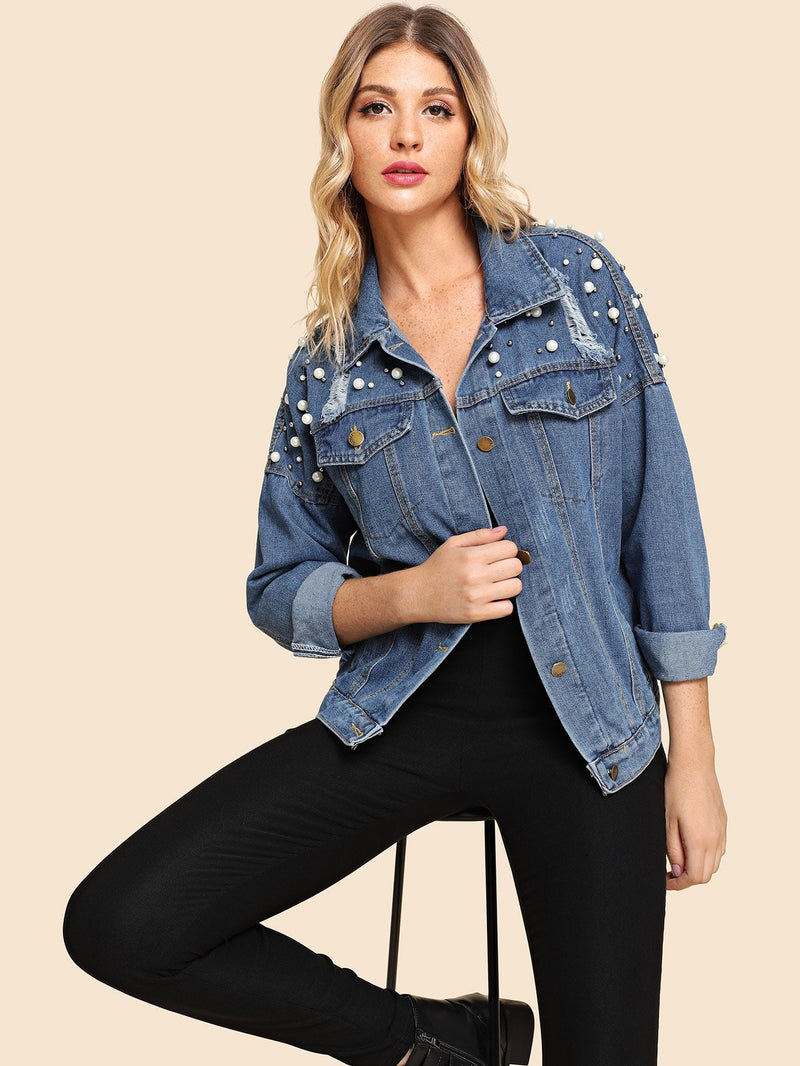 Faux Pearl Beaded Drop Shoulder Denim Jacket
