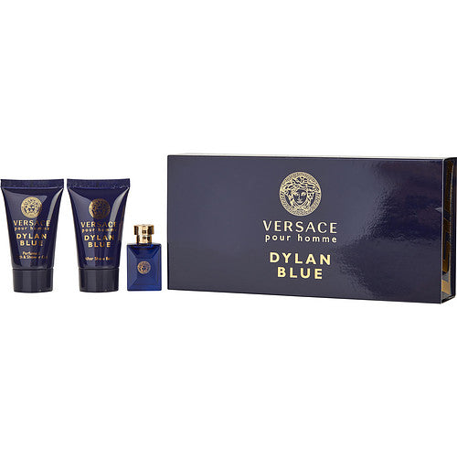 VERSACE DYLAN BLUE by Gianni Versace EDT .17 OZ MINI & SHOWER GEL .8 OZ & AFTERSHAVE BALM .8 OZ