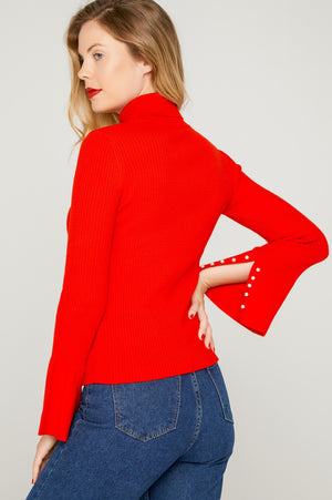 Women's Flare Sleeves Pearly Red Pullover