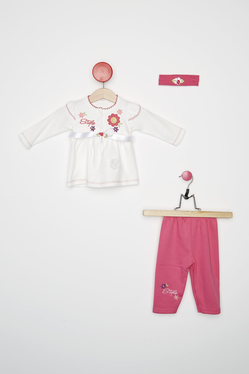 Embroidered Girl's Fuchsia Suit