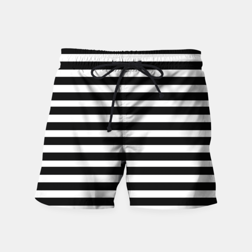 Black Stripes Seamless Pattern Swim Shorts