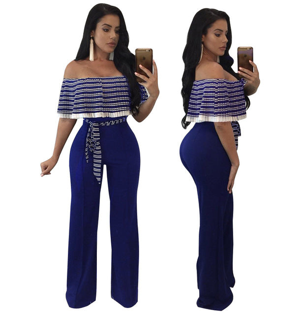 Striped Pleated Jumpsuits