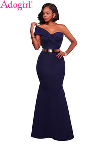 Sexy One Shoulder Ponti Gown