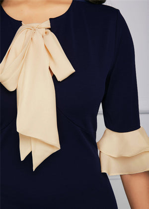Lady Elegance Bow Tie Flare Midi Dress