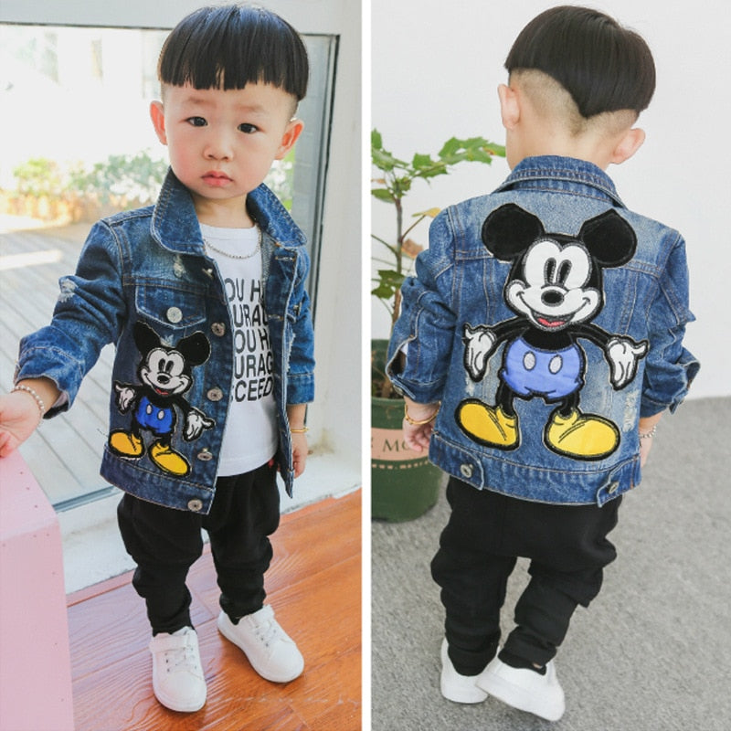 Unisex Cartoon Deco Kids Denim Jacket