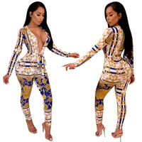 V Neck Gold Chain Print Jumpsuit
