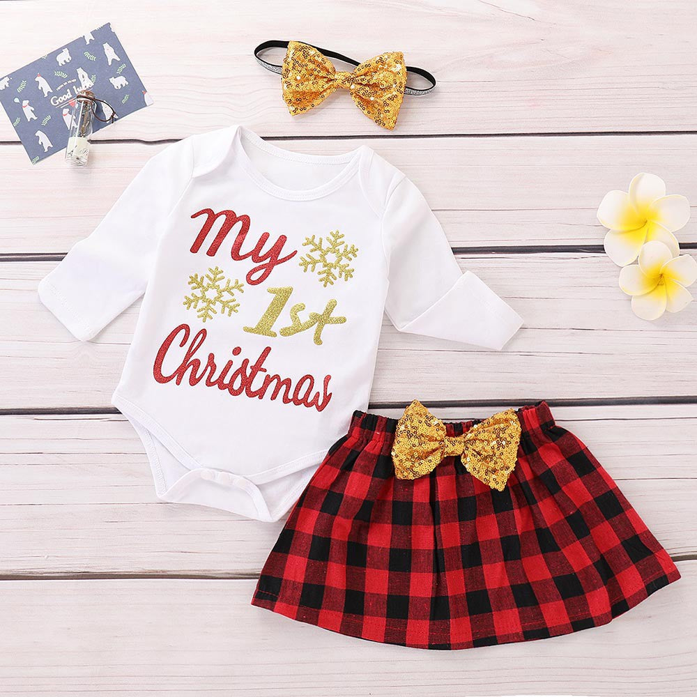Baby Girl Christmas Letter Print Three Set Piece