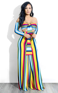 Colorful Stripe Women Sexy Two Piece Set