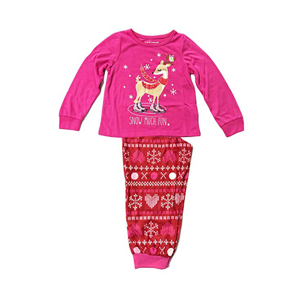Komar Kids Girls Reindeer with Ornaments 2 Piece Pajama