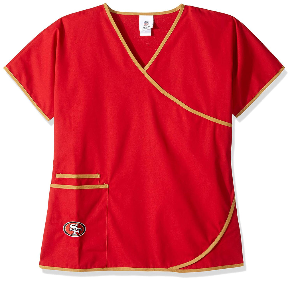 NFL San Francisco 49ers Mock Wrap Scrub Top