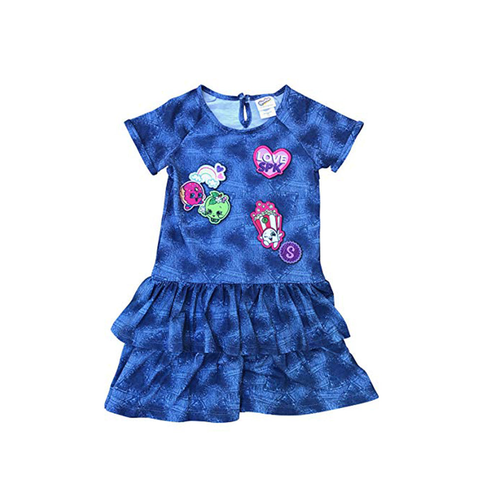 Shopkins Girls Denim Look Ruffle Dress Blue