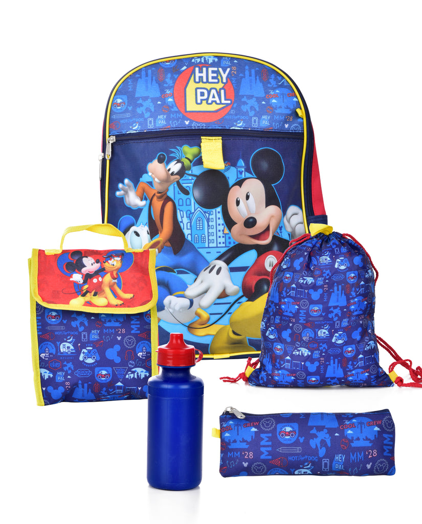 Disney Mickey Mouse 5 Piece Backpack School Set