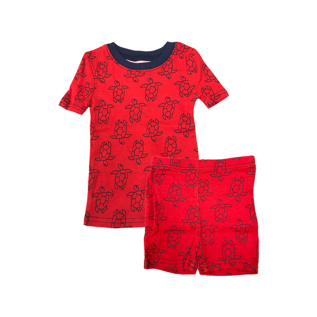 KOMAR KIDS PEAS AND CARROTS 2 PC RED TURTLE PRINT (SHIRT AND SHORTS)