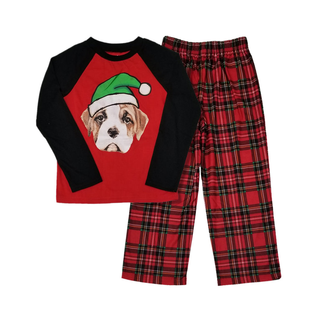 KOMAR KIDS DOG SANTA 2-PIECE PAJAMA SET