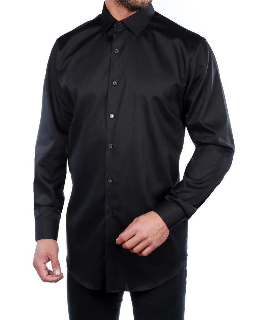 Kenneth Cole Reaction Black 100% Cotton Dress Shirt