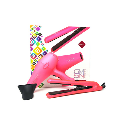 Cortex Gemstone Duo Set - 1.25 Ceramic Flat Iron & Tourmaline Dryer Pink