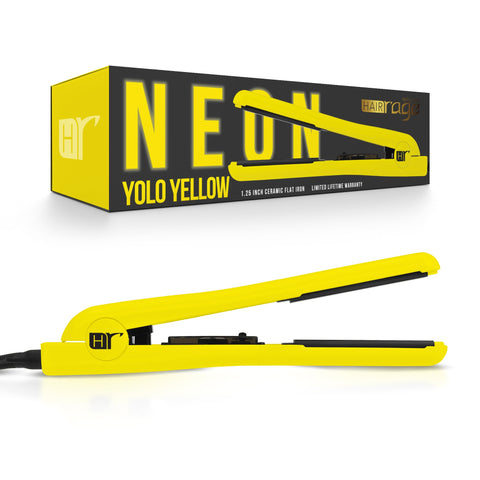Hair Rage Neon Edition 1-25 Inch Ceramic Professional Flat Iron Neon Yellow