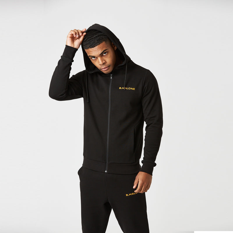Full Zip Tech Hoodie | Black/Orange