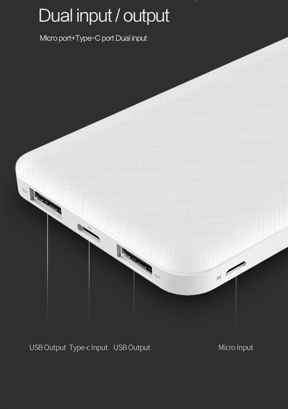 Utra Slim Portable Power Bank 10000 mAh