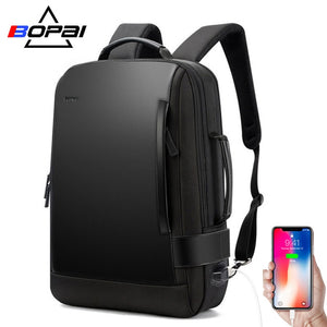 BOPAI Brand Enlarge Backpack USB External Charge 15.6 Inch Laptop Backpack  Shoulders Men Anti-theft Waterproof Travel Backpack