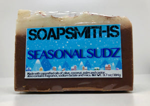 Hot Cocoa- Made with hot cocoa fragrance oil. The Mini-marshmallows on top of this soap are hand made and are also soap.