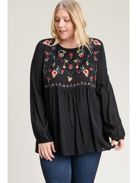 Embroidered Babydoll- Black