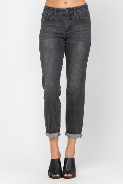 Black Hand Sanded Cuffed Boyfriend Denim