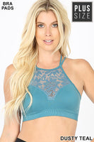 High Neck Lace Bralette- Dusty Teal