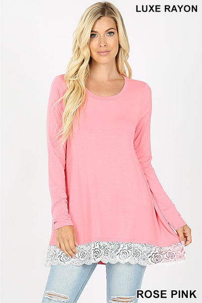 Lace Trim Long Sleeve Top- Rose Pink