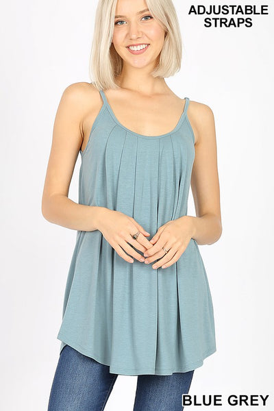 Pleated Spaghetti Cami- Blue Gray