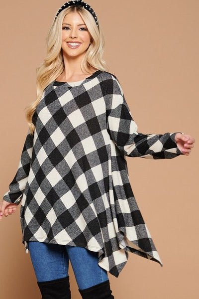 Ivory and Black Plaid Swing top