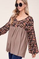 Paisley and Solid Babydoll Top