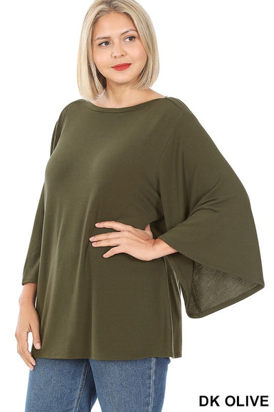Bell Sleeve Top- Dark Olive