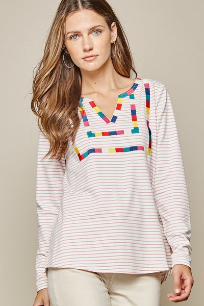 Striped Top Embroidery- Ivory and Mauve